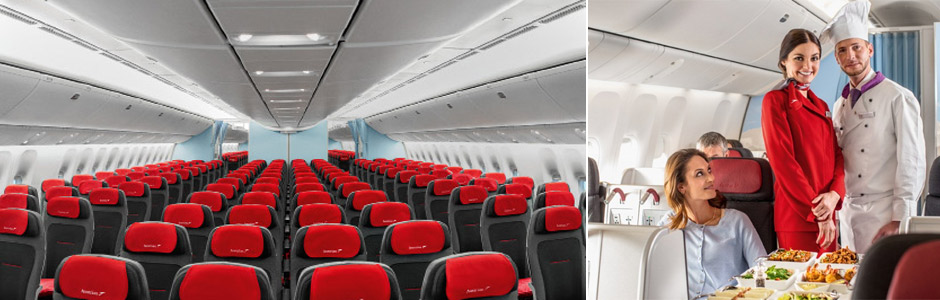 Austrian Airlines interior and crew
