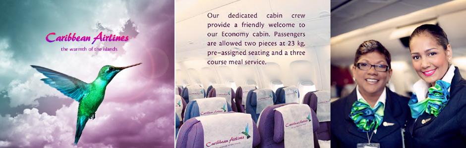Caribbean Airlines crew, onboard food and aeroplane