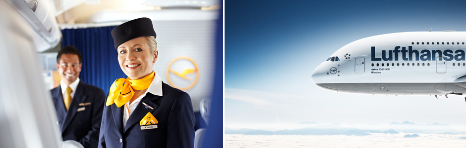 Lufthansa Flight attendant on board and plane Airbus A380