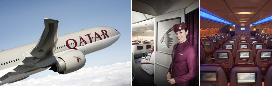 Qatar Airways plane, crew and awards